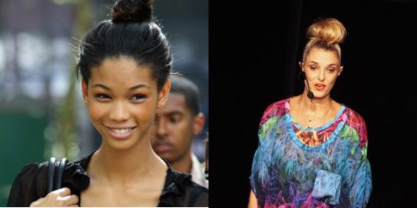 A modelo Chanel Iman e a stylist Lara Gerin no coque UP