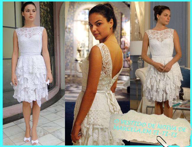 vestido de noiva de Marcela, em Ti-Ti-Ti