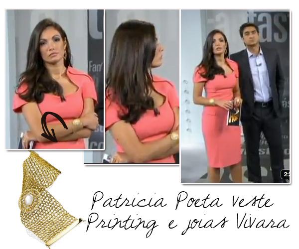 70e31903ee O vestido e a joia de Patrícia Poeta no Fantástico - Lalá Noleto
