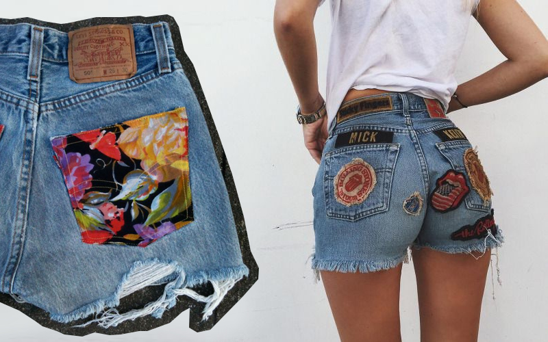 shorts jeans bordado patches