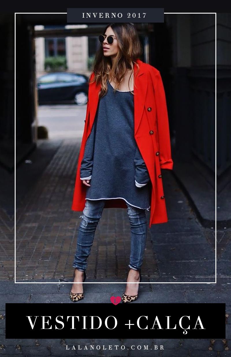 sobreposição vestido com calça